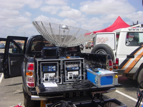 Free Lens Fully redundant Fly away transmitting live in front of the stadium  of Luanda during the openning ceremony
