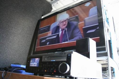 Bradcasting the trial live for Al Jazeera.