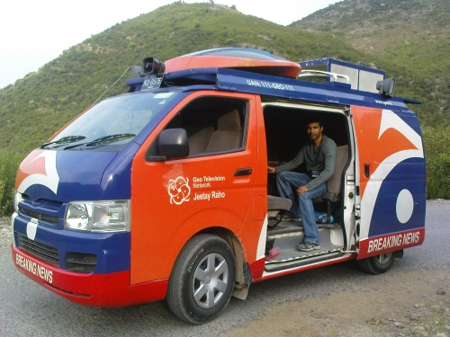 Geo News DSNG working in Hazra