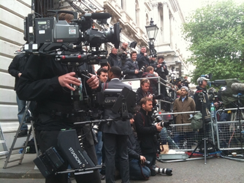 Press corps in Downing Street