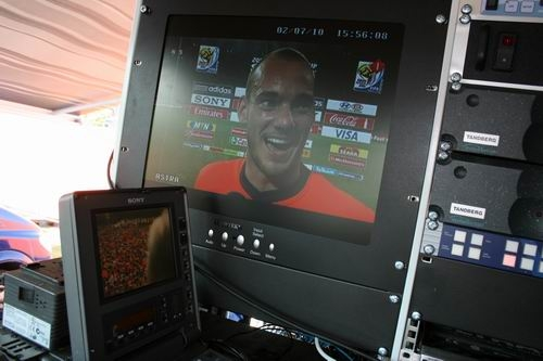 Broadcasting live pictures for Al Jazeera English troughout the game.