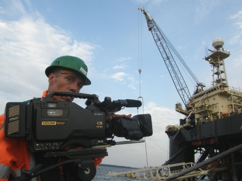 tvdata.tv HD camera crew Filming Nord Stream Gaspipeline in Russia