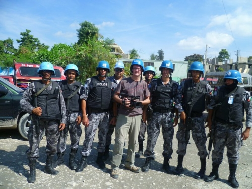 Philippe our cameraman with the UN troups