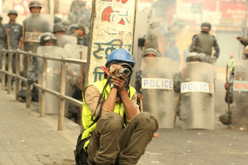 Shooting at Kalanki, Kathmandu during People's Movement