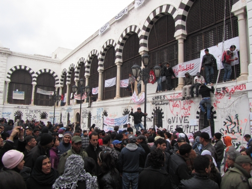 Tunisia Revolution, Keeping the pressure on the government at La Kasba Square