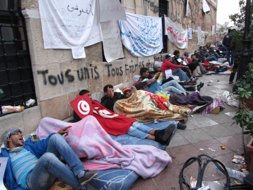 Tunisia Revolution, Youngsters are camping in front of Ghannouchi Prime Minister\'s Office
