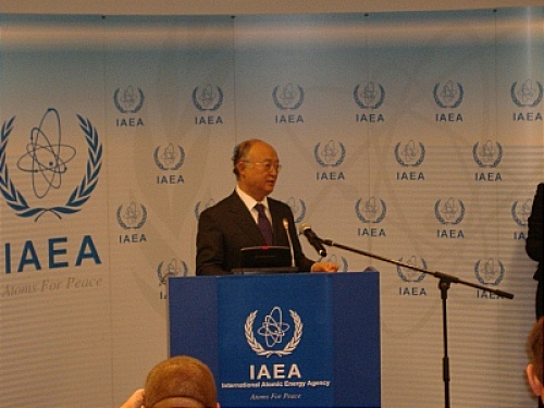 IAEA Director General Amano during the press conference