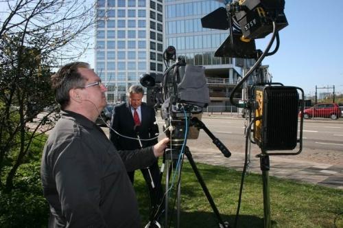 Cameraman John and reporter Andrew Simmons