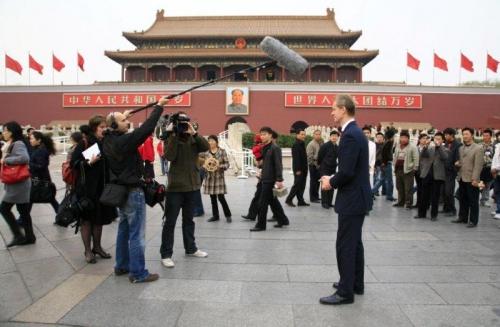Filming in Tianamen Square