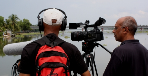 Simon Kurian Shooting a documentary in Kerala, India