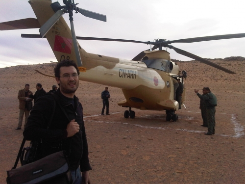 Yassene Zaoui, Cameraman in ABP Agency during a mission in the desert on the border of Morocco and Mauritania