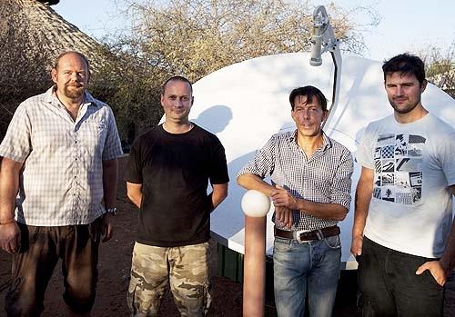 (Left to right): Phil Barker (SNG Uplink Engineer); Jon Steward (SNG Uplink Engineer); Bruno Beeckman (EBU Producer) and Tony Wilson (SNG Cameraman).