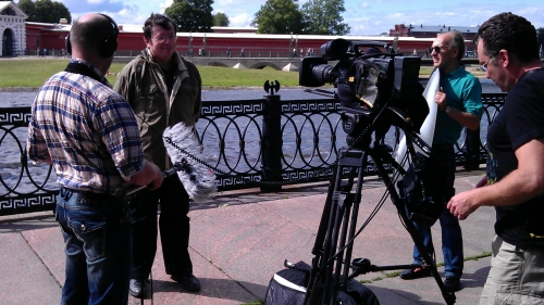 Looking for a proper location with the picturesque background in St. Petersburg. A client, Prometheus Entertainment from California sent special requirements to portray depth, contrast and texture. The interviews were filmed on High Definition Camera Sony F900. For equipment www.tvdata.tv/shop