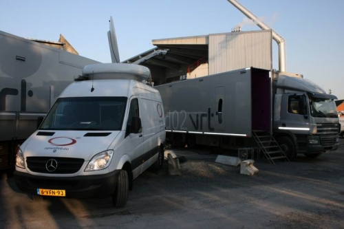 SNG in front of VRT HD 02 OB truck at Mons in Belgium.