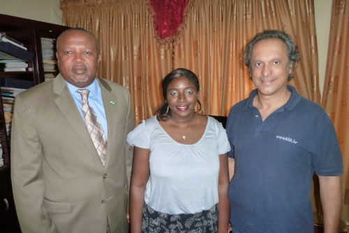 Faridoun Hemani with Evelyn Alpha, National Projects Manager for UNIDO and Alimamy Koroma, Minister of Works, Housing