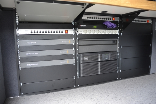 BlackMagic gear with UPS and power distribution panel in SNG