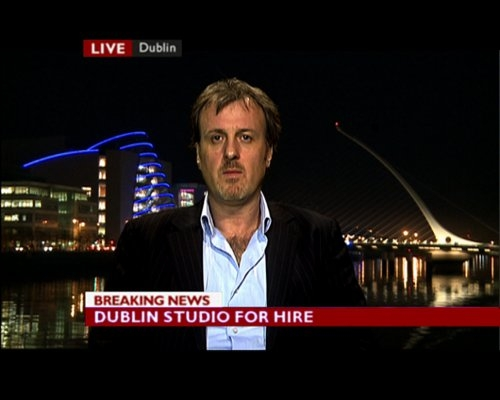 News Studio with Night-time Dublin video backdrop