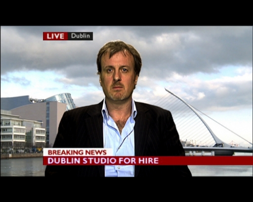 News Studio with Day-time Dublin video backdrop