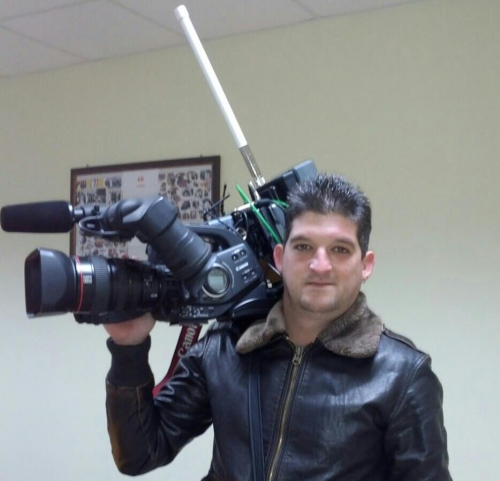 The new HD radio camera during shooting.