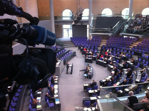 covering the german parliament for the main broadcaster ARD