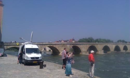 At the old bridge in Regensburg