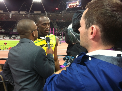 Filming Interview with Usain Bolt