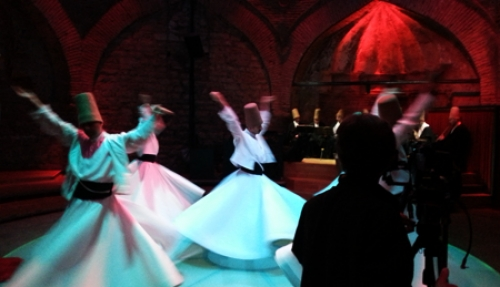 Filming whirling dervishes