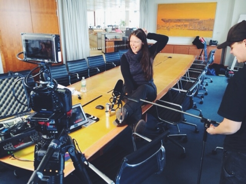 -we're having fun shooting testimonials in Frankfurt…