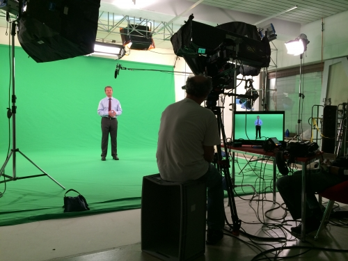 Green Screen shoots are the order of the day and have been for a long time. This one was in Frankfurt and was somewhat more elaborate than the usual head and shoulders shot. We needed head to toe shots to be incorporated into a virtual studio type set up. We shot xdcam with teleprompter and recorded 4.2.2. 10 bit to a pix 240 for greater color depth.