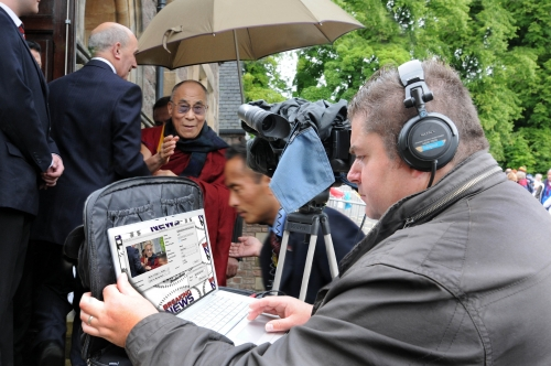 BNN Covering the visit of the Dalai Lama to Inverness for Scottish Television News, Broadcast via the Quicklink Broadcast System.