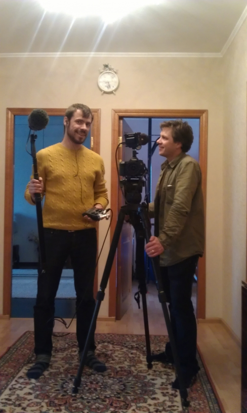 This is a first time for Mike to come to film in Russia and he sent us ( TVDATA.TV)  a request via email info@tvdata.tv  asking for a technical support, which included some sound equipment to be provided in Moscow as well as asking for a very reliable and professional soundman who speaks English  and can work on recording interviews during the project.  The two professionals met first time at the Moscow Hotel and created a piece to be included into docu series for Discovery .