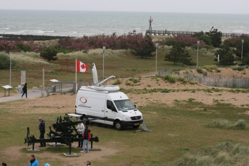 Live set up on Juno Beach. we could walk wireless for hundreds of meters on the beach.