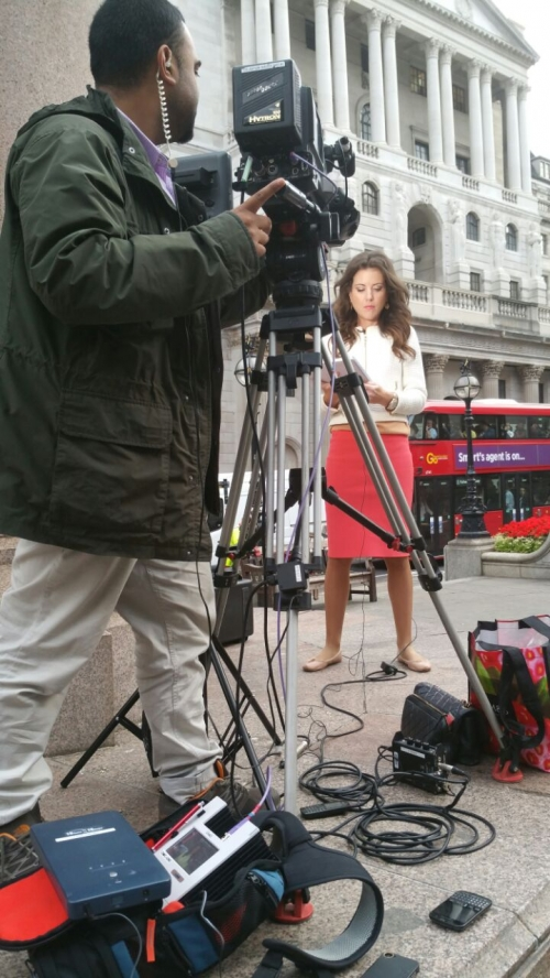 Outside the Royal Exchange with LIVEU CNBC - MoCAM