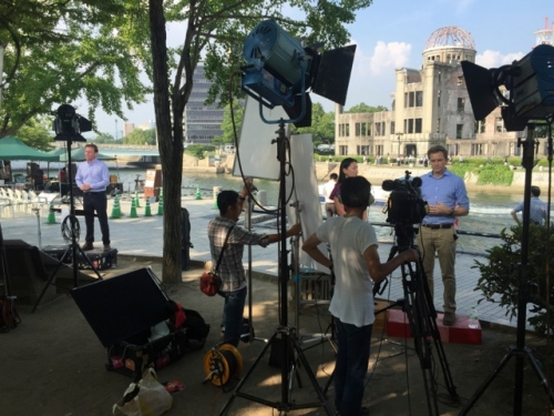Live stand-up filmed and uplinked by ITM