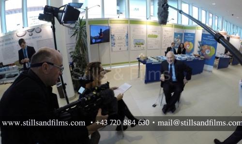 Interviewing Joseph Stiglitz at the UN headquarters in Vienna, Austria