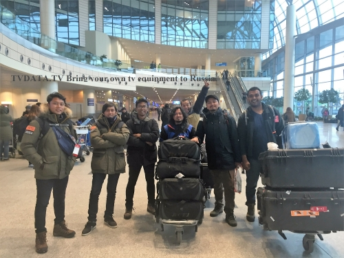 An Indonesian team of 6 cameramen, several creative people and four contestants – in total 40 people arrived to Moscow International Airport to film an Amazing race show sponsored by Datsun car manufacturer. Note: To film in Russia, you can bring your own tv equipment but you will be required to present an ATA Carnet declaration on customs. TVDATA's Producer met the crew to assist in Russia. IF you need any help with your tv or a film project please CONTACT US  RU +79255026511 UK +447463431133 What's App and Viber USA +13478517101 info@tvdata.tv Skype: TVDATA