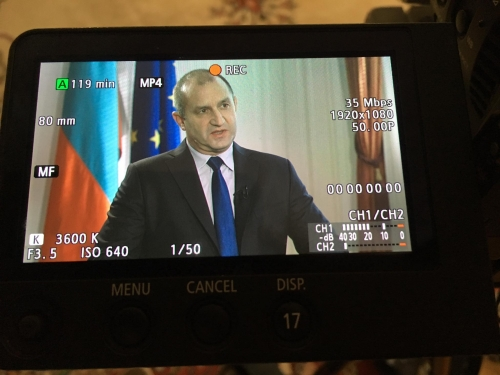 INA TV crew filming an interview with the new president of Bulgaria Roumen Radev