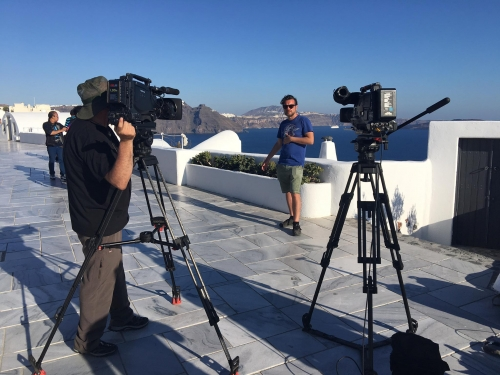 INA TV crew filming in prehistoric sites of Santorini for RAI 1