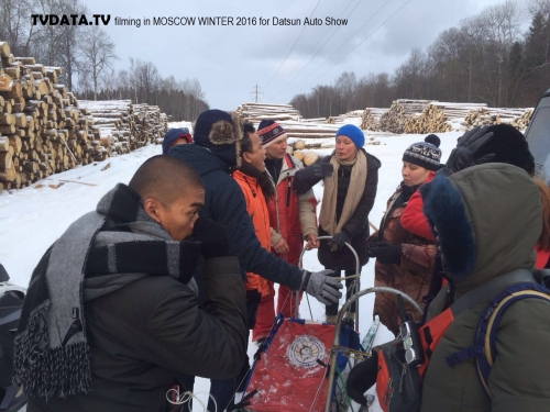 Russian Production Coordinator, organised, energetic and have a flexible approach to work. A strong background in broadcast planning for events. This picture shows dog sledging filming in suburban Moscow For INDONESIAN DATSUN AUTOMOBILE REALITY SHOW, winter 2016 for RCTI Indonesian channel.