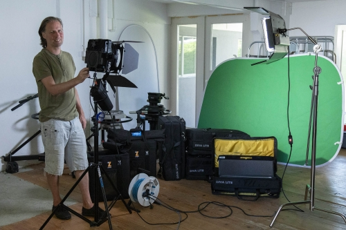 Two F8-200 LED Fresnel & four Diva-Lite ready to go