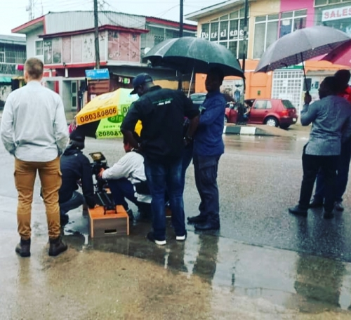 Crew on location streets of Lagos