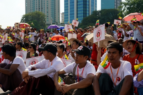 NLD's supporters showed their rally on Aung San Su Kyi