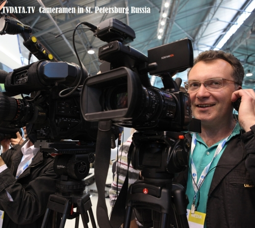 Filming video Interview St. Petersburg Russia. Experienced Broadcast Cameramen in Russia TVDATA.TV equipped with any camera from Sony EX3, Canon C300 to Arri Alexa