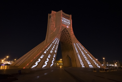 The video mapping is projected on the Azadi (Freedom) Monument in western Tehran, March 31, 2020.