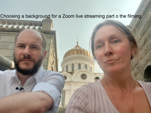 Choosing a background for a Zoom live streaming part o the filming.