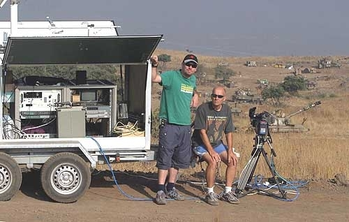 Cameraman Alon Bernstein and producer, Mati Hefer.