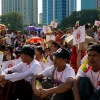 Aung San Su Kyi supporters gathered in Sule to show support for her prior to ICJ genocide hearing.