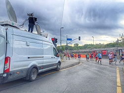 ACTAMEDYA used SNG satellite trucks and OB vans to broadcast the Vodafone Istanbul Half-Marathon.