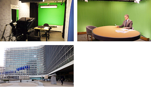 AP offers a live broadcast TV studio in Brussels, Belgium.
