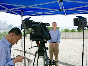 AP's new live TV stand-up position is available in Pyongyang in North Korea.